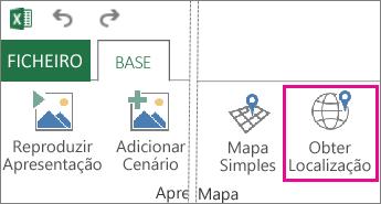 Encontrar o botão Localização no separador Base do Power Map