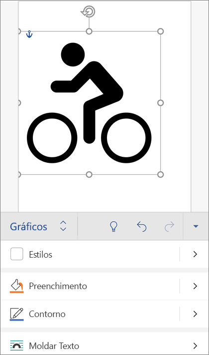 Uma imagem SVG selecionada, mostrando o separador Gráficos na fita