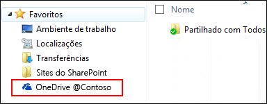 Biblioteca sincronizada do OneDrive para Empresas nos Favoritos do Windows