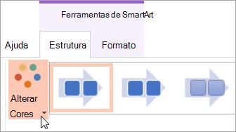 Mostra o botão Alterar cores no separador Estrutura