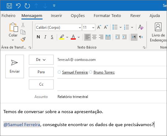 A funcionalidade Menção com @ no Outlook