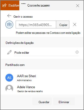 Captura de ecrã das propriedades de ligação a mostrar os utilizadores que foram enviados a ligação.