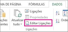 Editar Ligações no separador Dados
