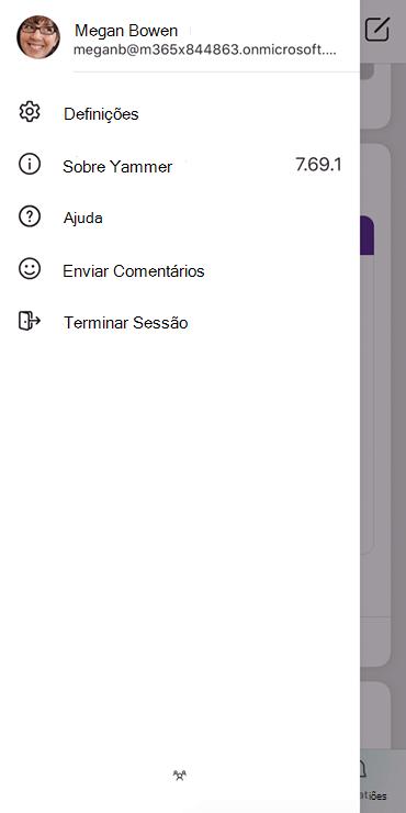 Screenshot mostrando a configuração de um perfil na aplicação móvel Yammer