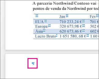A Marca de parágrafo vazio está realçada na página após uma tabela
