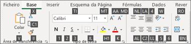 Informações de teclas de atalho do friso do Excel