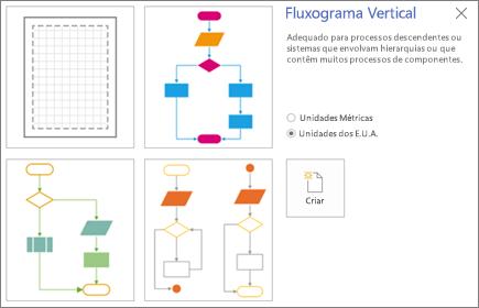 Captura de ecrã do ecrã Fluxograma Vertical a apresentar opções de modelos e unidades de medida.