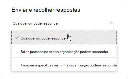 Opções de partilha no Microsoft Forms