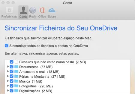 Caixa de diálogo de Pastas de Sincronização do OneDrive para Mac