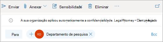 Screenshot de uma dica sobre um rótulo de sensibilidade aplicado automaticamente