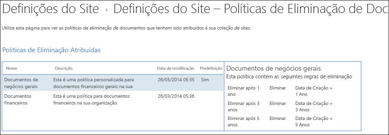 Políticas de eliminação de documento atribuídas a uma coleção de sites
