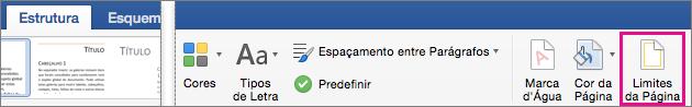 No separador Estrutura, a opção Limites de Página está realçada