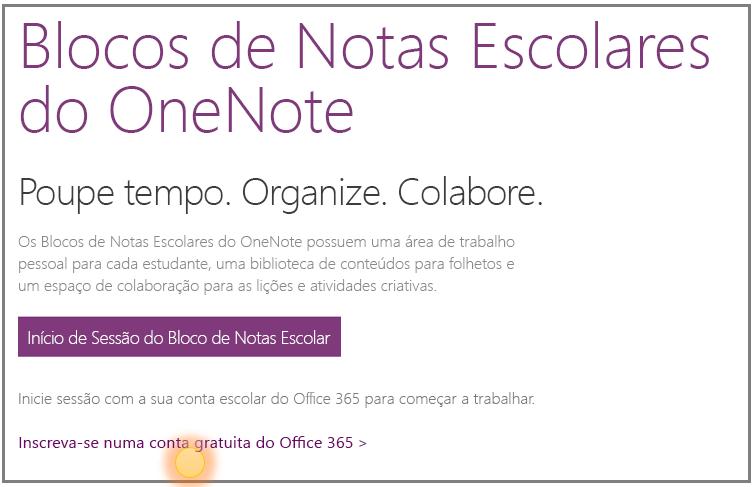 Captura de ecrã a mostrar como obter uma conta do Office 365 gratuita.