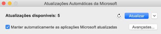 Janela das Atualizações Automáticas da Microsoft quando existem atualizações disponíveis.