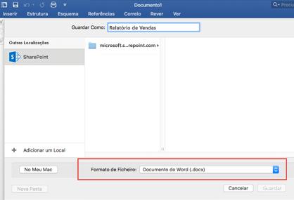 Utilize a ferramenta Formato de Ficheiro na opção Guardar Como do Word para guardar noutros formatos, como PDF