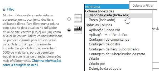 No SharePoint Online, selecione um campo indexado