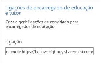 A hiperligação em Ligações para pais e tutores, em Gerir Blocos de Notas.