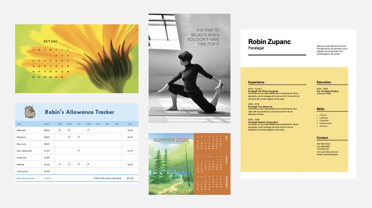 calendários, um currículo e um cartaz
