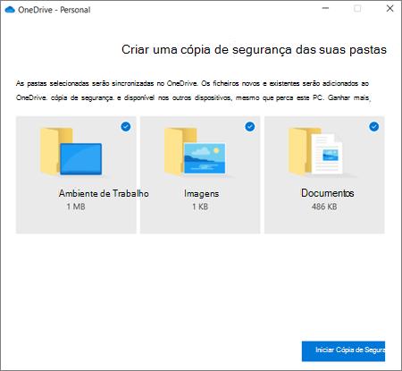 Captura de ecrã a mostrar a caixa de diálogo Configurar proteção de pastas importantes no OneDrive