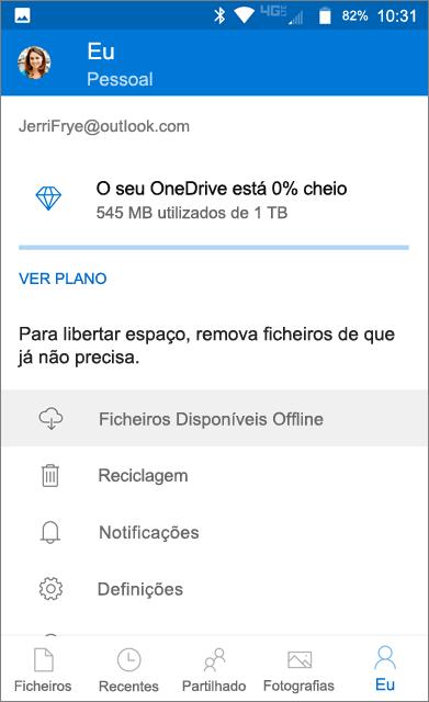 Pasta offline do OneDrive