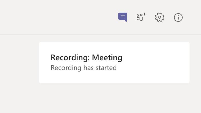 Notificação de gravação da reunião no chat da reunião