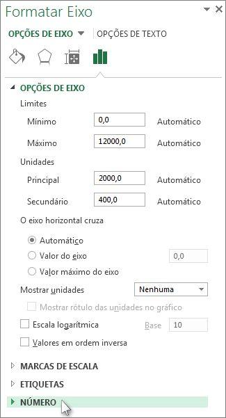 Opção Número no painel Formatar Eixo