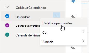 Captura de ecrã do cursor a pairar sobre Partilha e permissões no menu de contexto do calendário