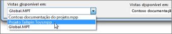 Selecionar um ficheiro de projeto de destino no organizador do Project.