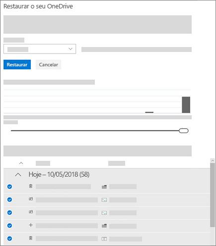 Captura de ecrã a mostrar a utilização do gráfico de atividade e do feed de atividade para selecionar atividades em Restaurar o seu OneDrive