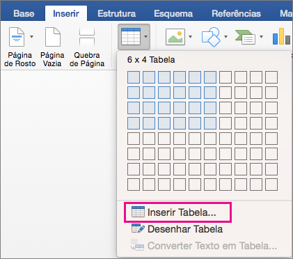 Insert Table is highlighted to create a custom table