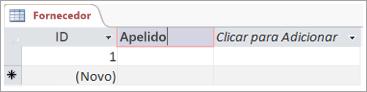 Recorte de ecrã do campo para adicionar um nome descritivo para uma coluna