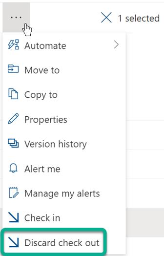 A opção Rejeitar Saída está no menu de três pontos acima da lista de ficheiros na biblioteca do SharePoint.