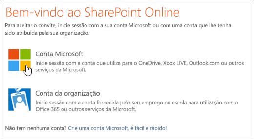 Uma captura de ecrã a mostrar o ecrã de início de sessão do SharePoint Online.