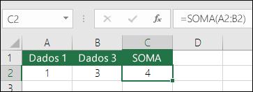 A função SOMA ajusta-se automaticamente a linhas e colunas inseridas ou eliminadas