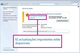 Ligações no painel Windows Update