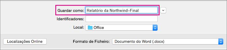 Na caixa Guardar Como, introduza ou modifique o nome de ficheiro do documento atual.