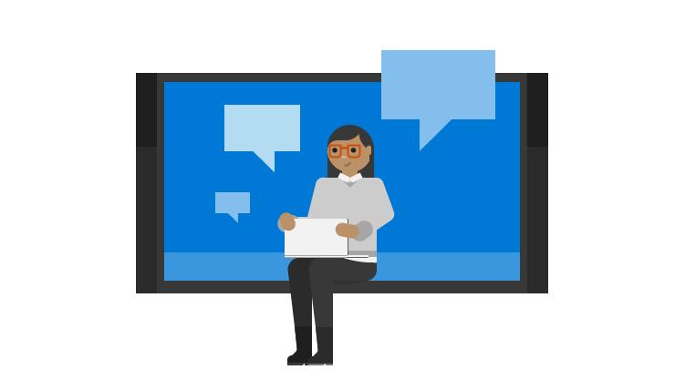 Ilustração de uma mulher com um portátil e caixas de diálogo