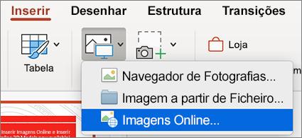 Menu Inserir a mostrar o comando Imagens Online