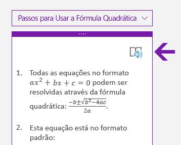 Ícone da Leitura Avançada no painel Matemática no OneNote para Windows 10
