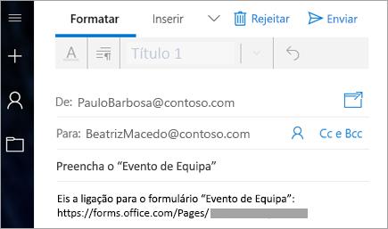 Enviar uma ligação para o seu formulário num e-mail