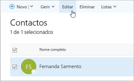 Uma captura de ecrã a mostrar o rato a pairar sobre o botão Editar, na página Pessoas.