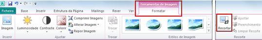 Comando de recorte no Separador Formatar das Ferramentas de Imagem no Publisher