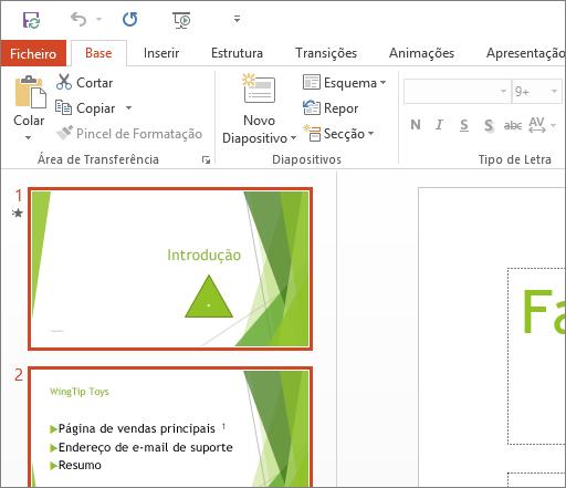 Apresenta o PowerPoint 2016 com o Tema Branco aplicado.
