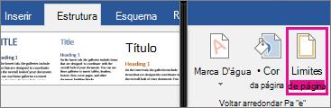 O ícone Limites da Página está realçado no separador Estrutura