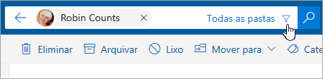 Uma captura de ecrã a mostrar o botão Filtrar na barra de pesquisa