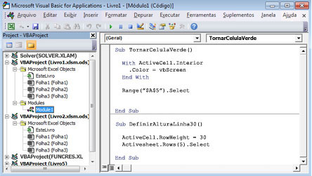 Um módulo que contém duas macros armazenadas no Module1 do Livro1