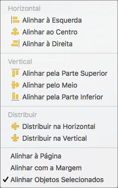 Para alinhar objetos em relação entre si, selecione alinhar objetos selecionados.