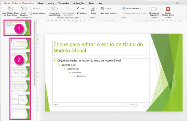Modelo global de diapositivos e esquemas de diapositivo