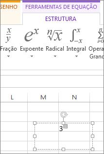 A escrever na caixa de formatação superior à linha