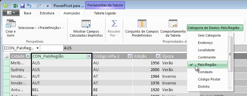 Categorias de Dados no PowerPivot